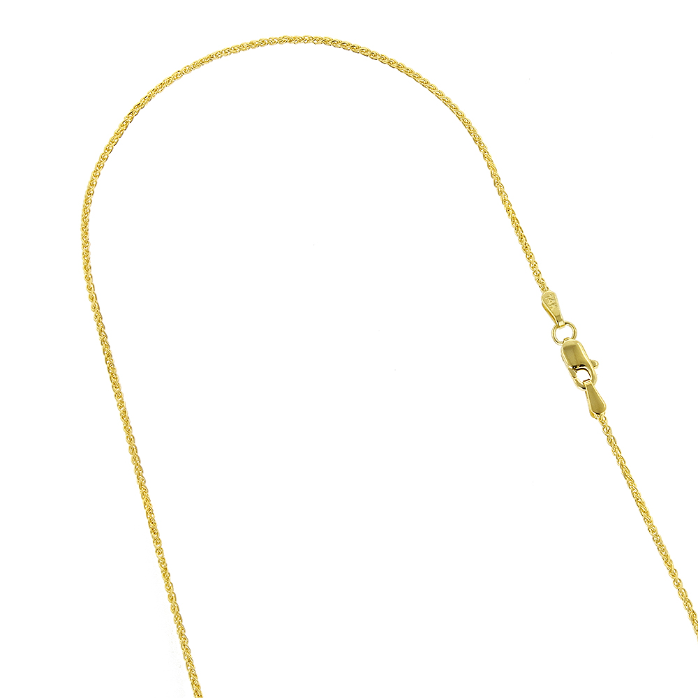 LUXURMAN Solid 14k Gold Wheat Chain For Men & Women 1.5mm Wide Yellow Image