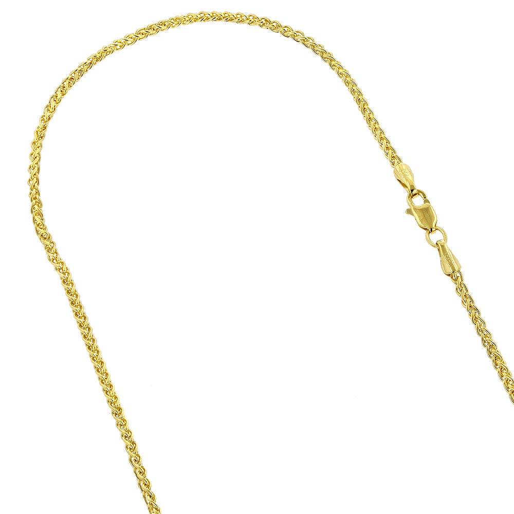 LUXURMAN Solid 14k Gold Wheat Chain For Men & Women 2.1mm Wide Yellow Image