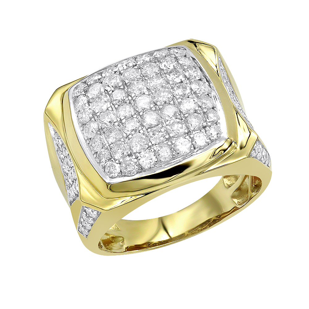 LUXURMAN Statement Jewelry: 10k Gold Mens Diamond Ring 3 Carat Pinky Ring Yellow Image