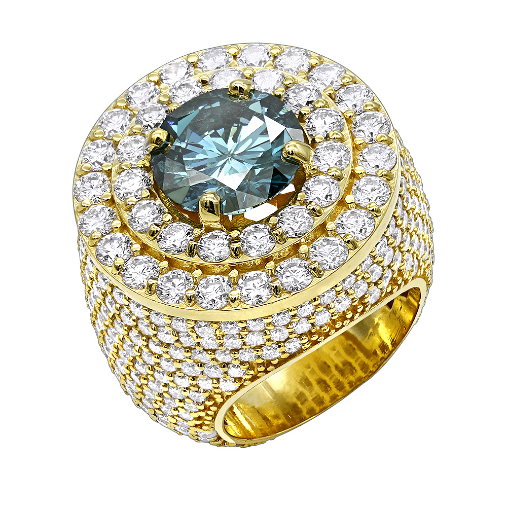 Luxurman Statement Jewelry 14K Gold Unique White Blue Diamond Mens Ring 11c Yellow Image