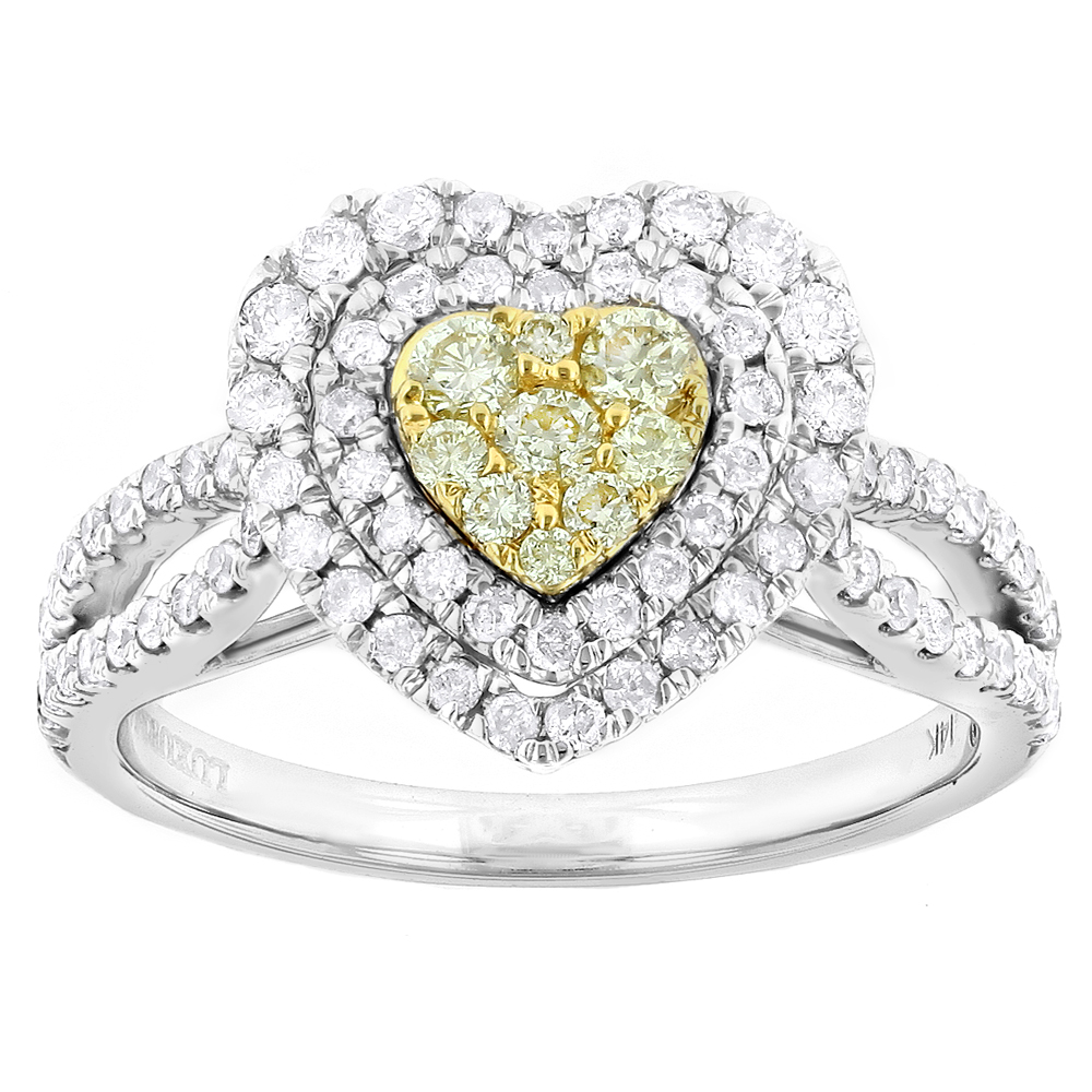 Luxurman Unique 14K Gold White Yellow Diamonds Heart Shape Ring 1ct White Image