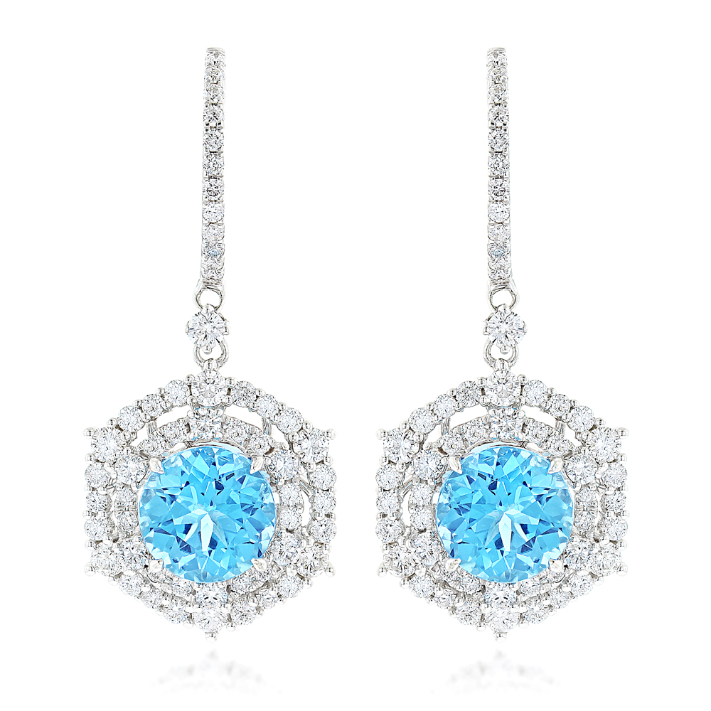 Luxurman Unique Blue Topaz Diamond Drop Earrings for Women in 14k Gold White Image