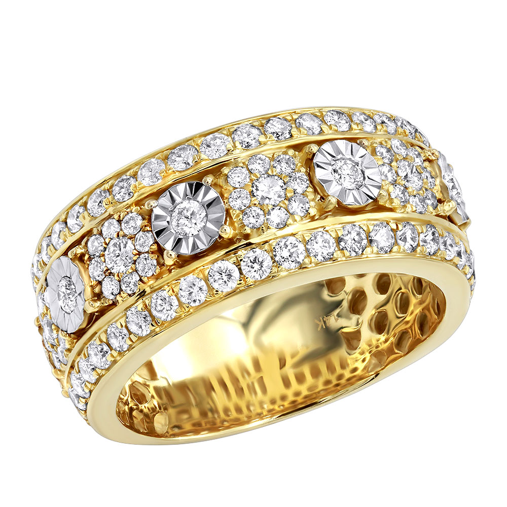 Luxurman Unique Mens Diamond Wedding Band 14k Gold 2.25ct Anniversary Ring Yellow Image
