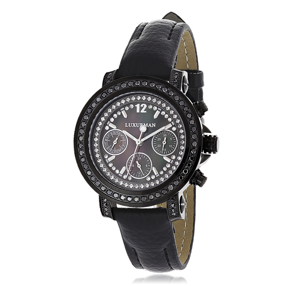 Luxurman Watches: Black Diamond Watch for Women 2.15 carats Main Image