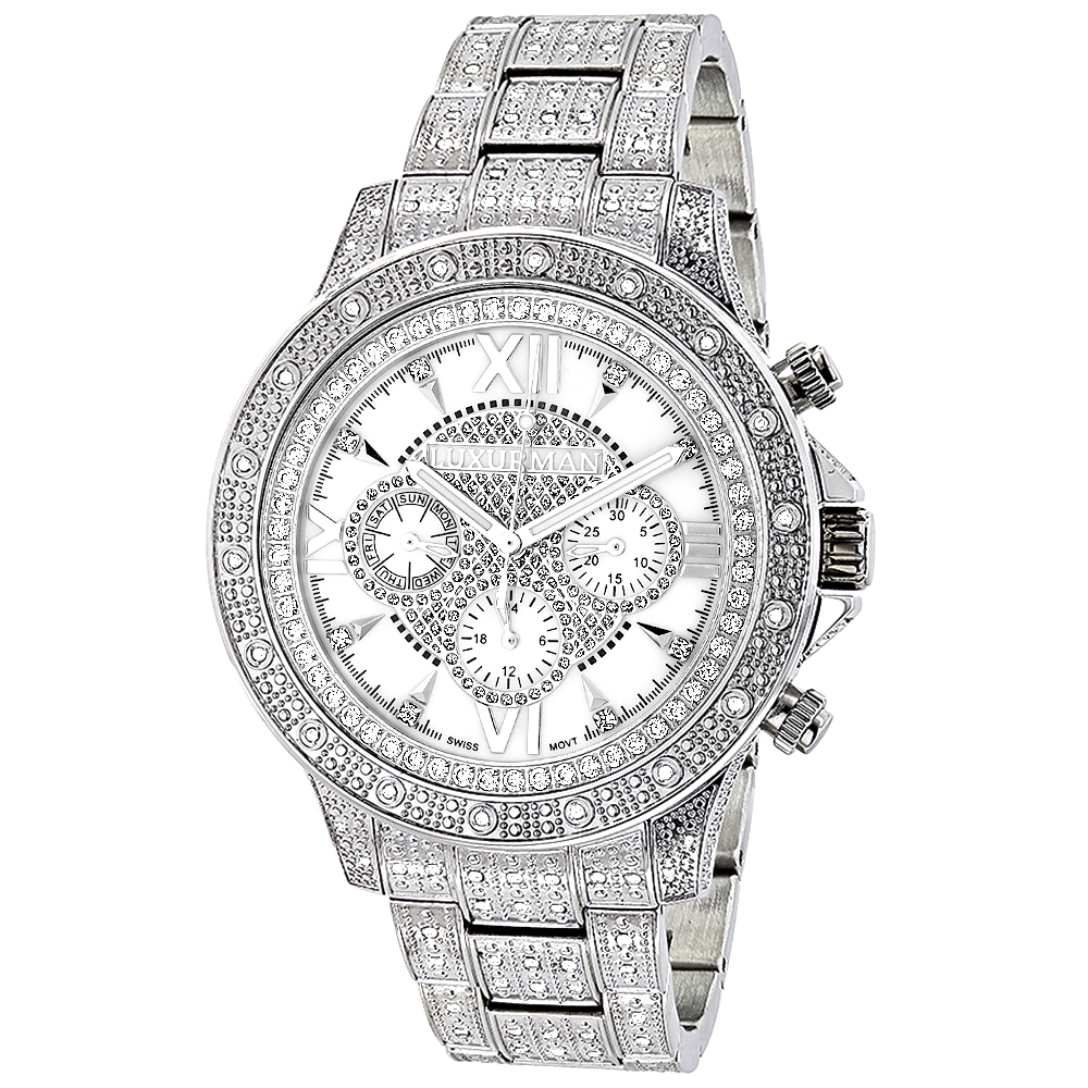 luxurman watches iced out mens diamond watch. Black Bedroom Furniture Sets. Home Design Ideas