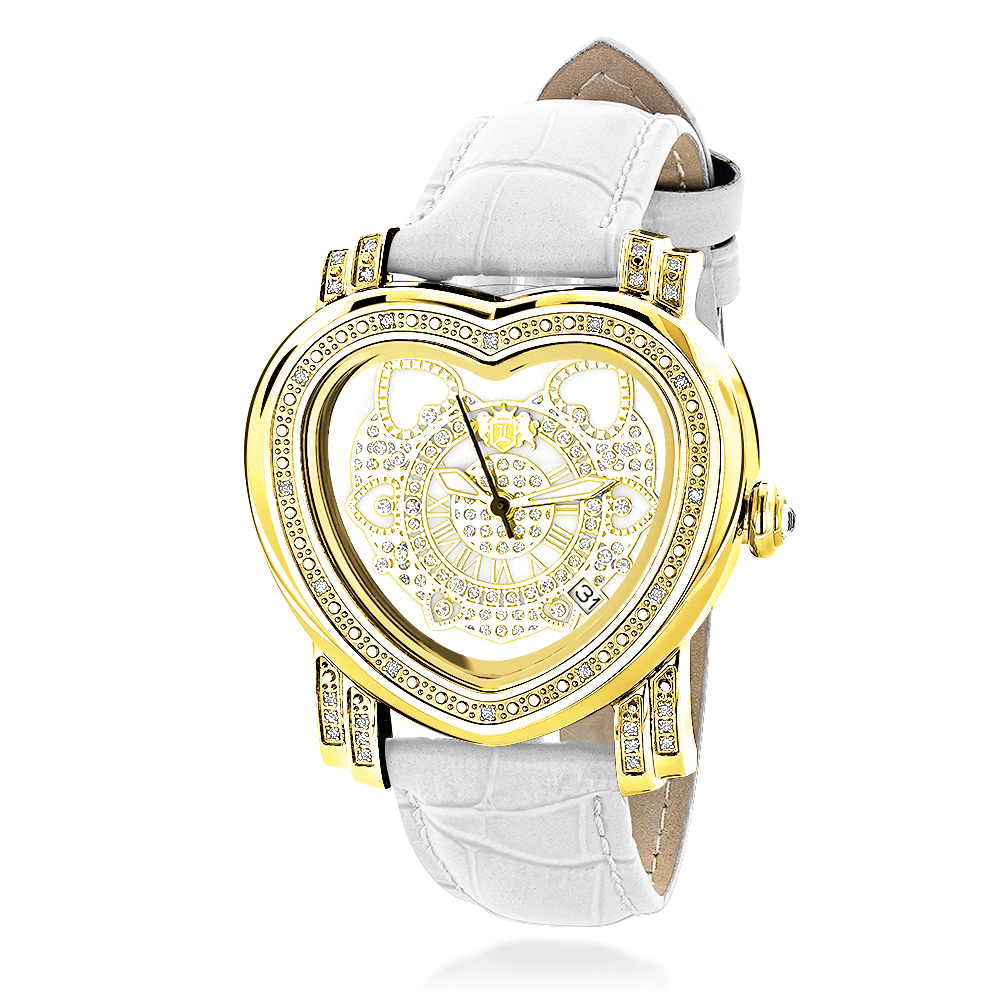 Luxurman Watches: Ladies Diamond Heart Watch 0.30ct Yellow Gold Plated Main Image