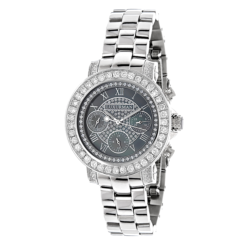 Luxurman Watches: Ladies Diamond Watch 3ct Black Main Image