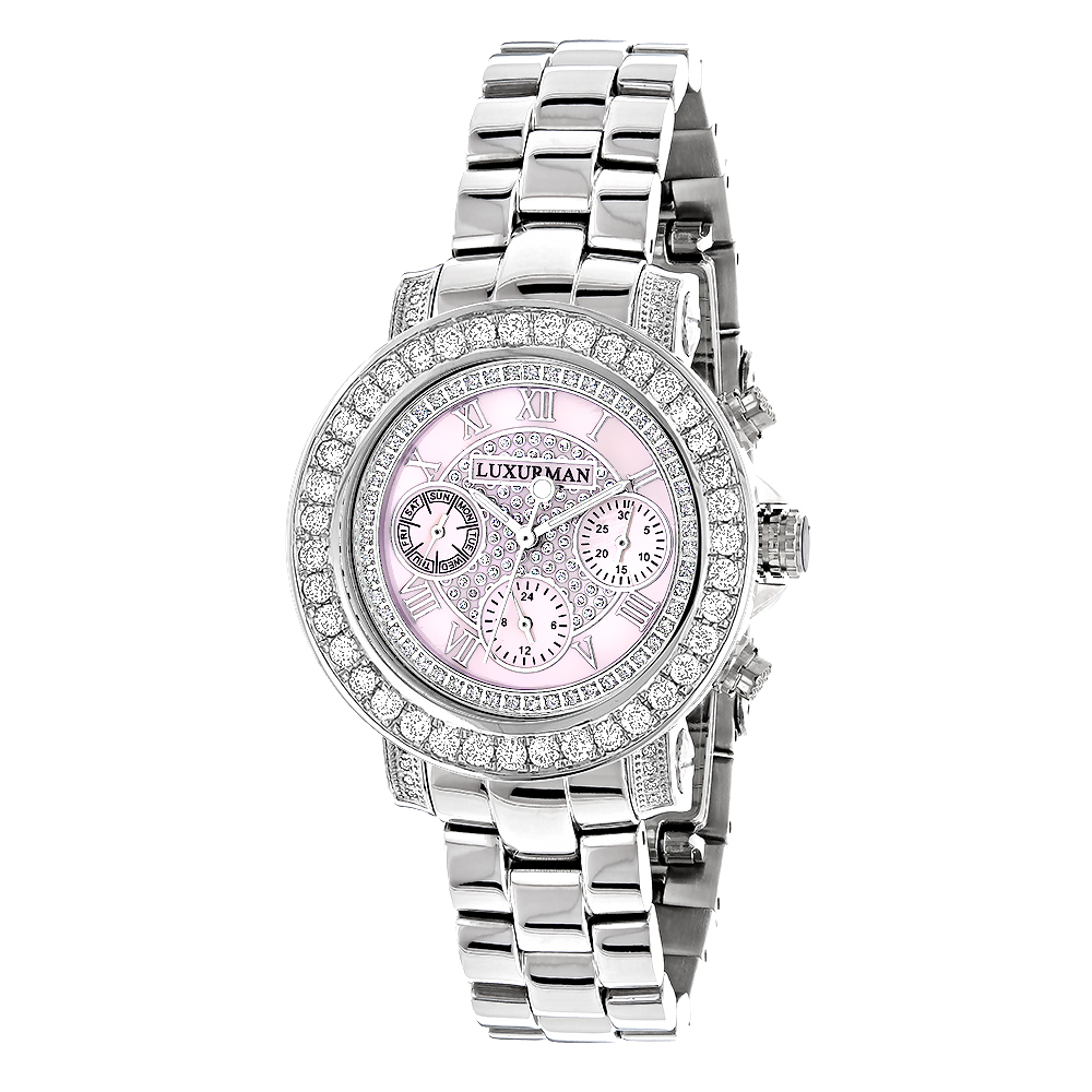 Luxurman Watches: Ladies Diamond Watch 3ct Pink Main Image
