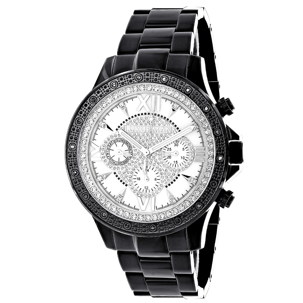 Luxurman Watches: Liberty Mens Real Diamond Watch 0.2ct Black Main Image