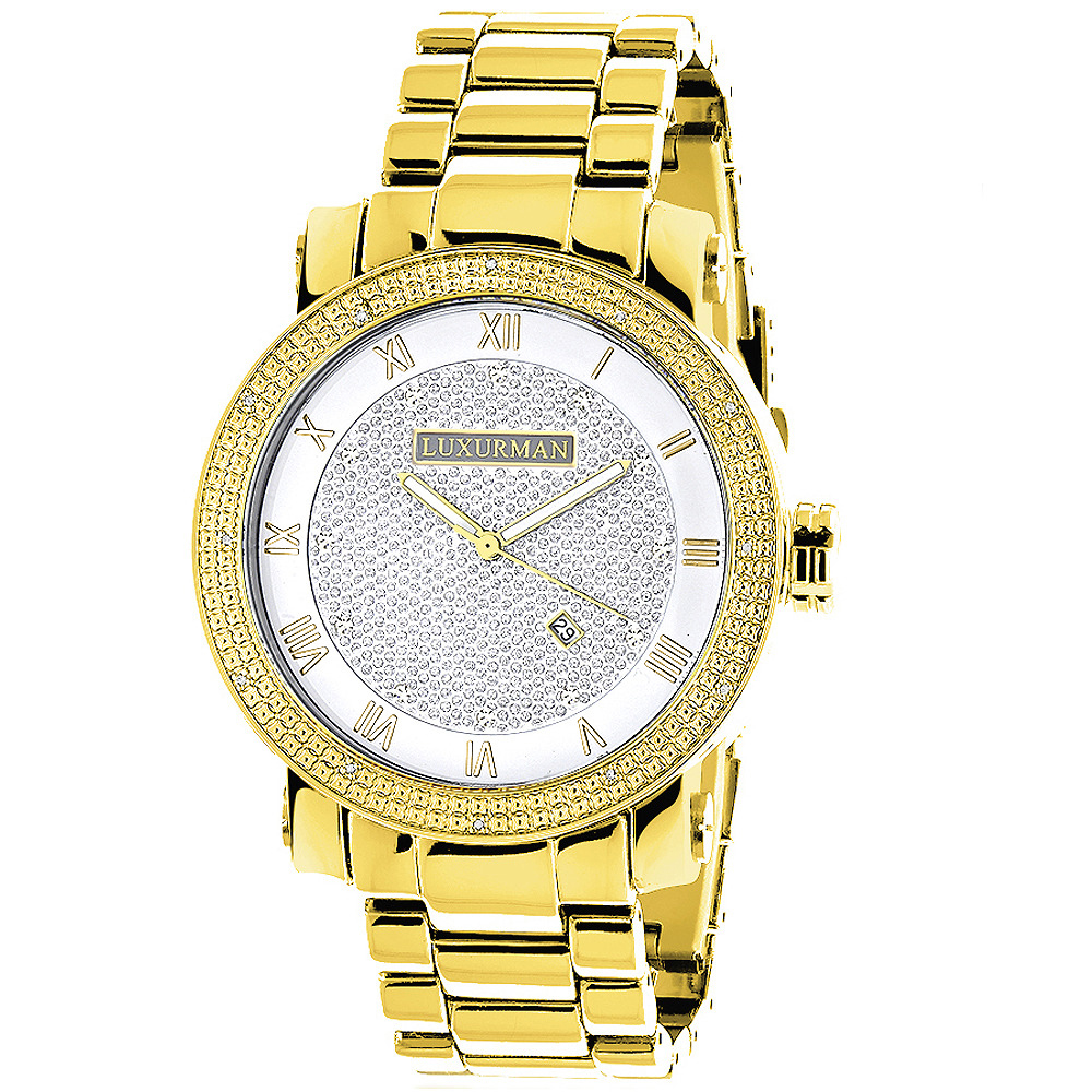 Luxurman Watches: Mens Diamond Watch 0.12ct