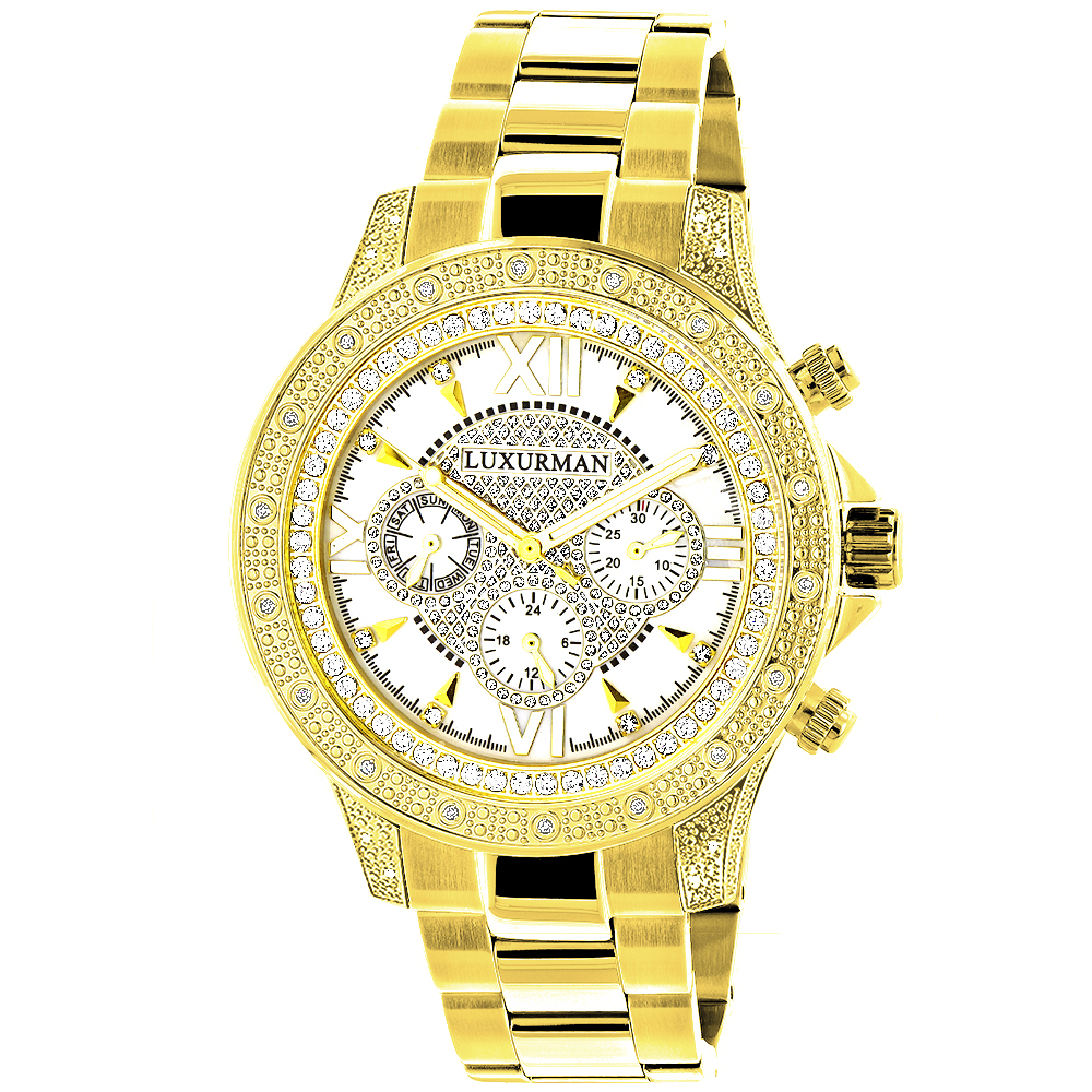 Luxurman Watches: Mens Diamond Watch 0.5ct Yellow Gold Plated Main Image