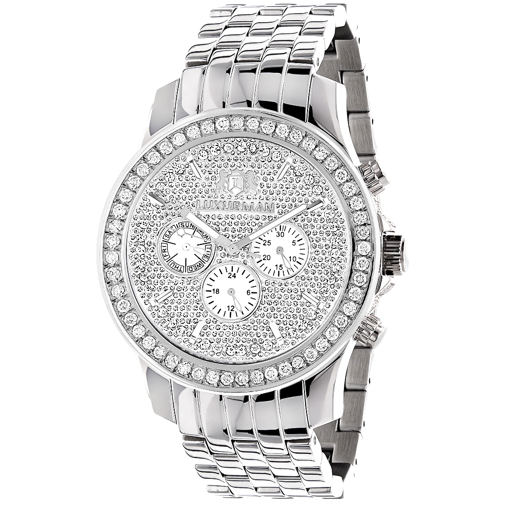 Luxurman Watches Mens Diamond Watch 3ct Main Image