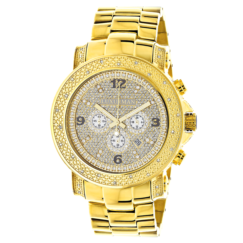 Luxurman Watches Mens Oversized Diamond Watch 0.75ct Yellow Gold Main Image