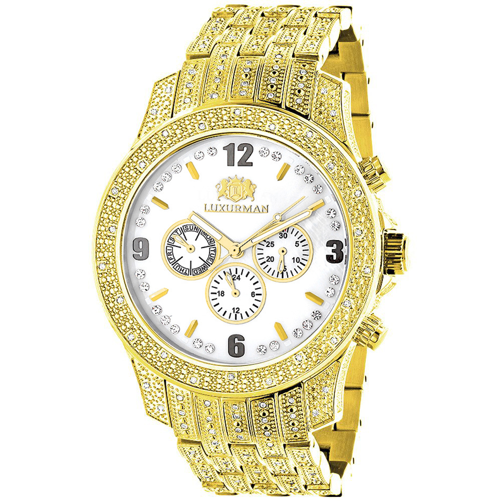 Luxurman Watches Mens Real Diamond Watch 1.25ct Yellow Gold Plated Main Image