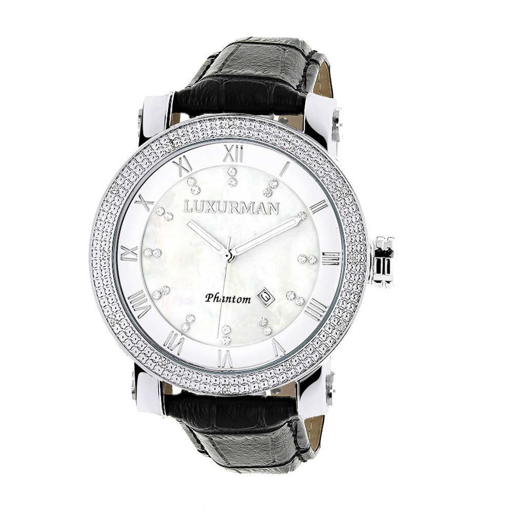 Luxurman Watches Mens VS Diamond Watch .18ct White MOP Main Image