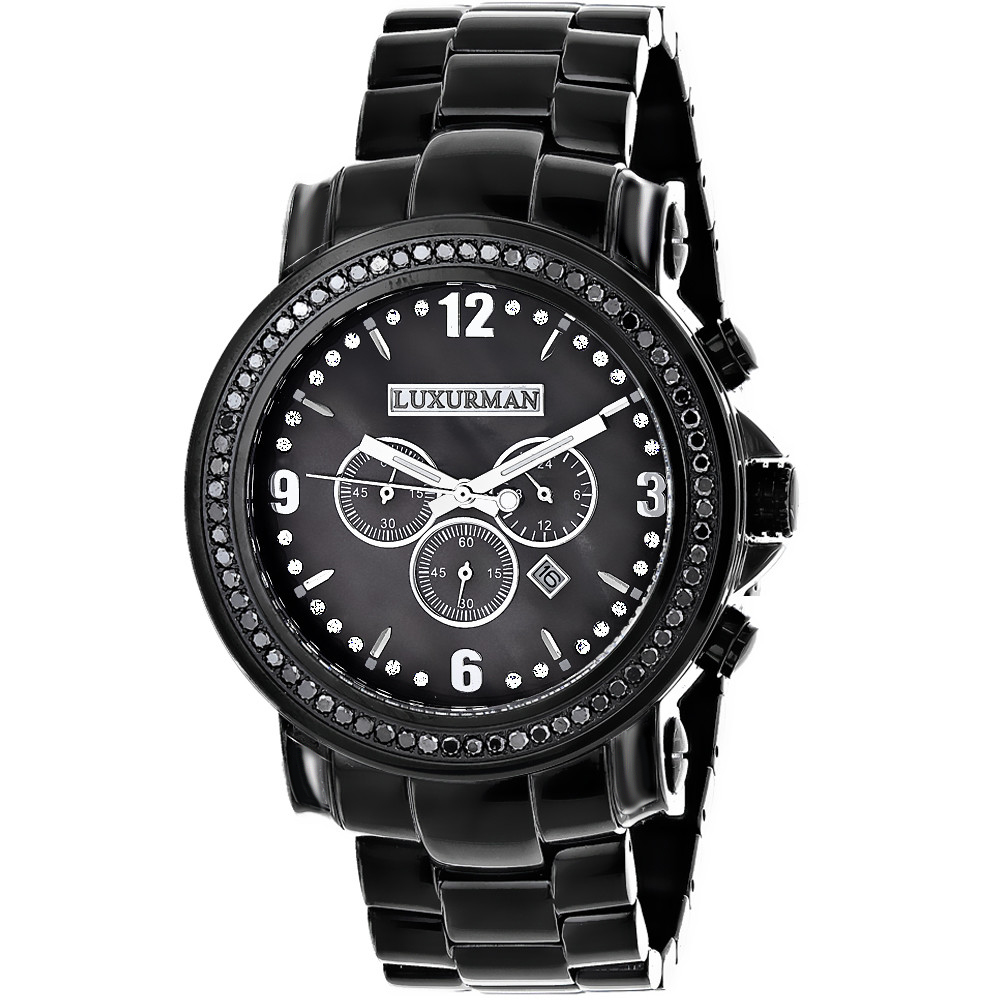 Luxurman Watches Review: Mens Black Diamond Watch 3ct Oversized Main Image