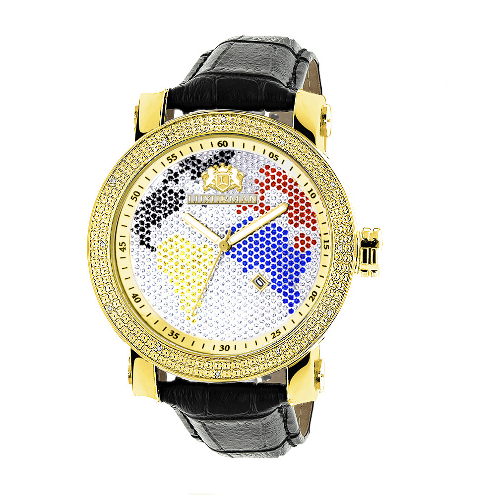 Luxurman Watches World Map Mens VS Diamond Watch .18ct Main Image