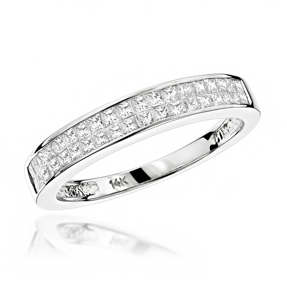 Luxurman Wedding Rings: 1 Carat  Princess Cut Diamond Wedding Band 14K Gold White Image
