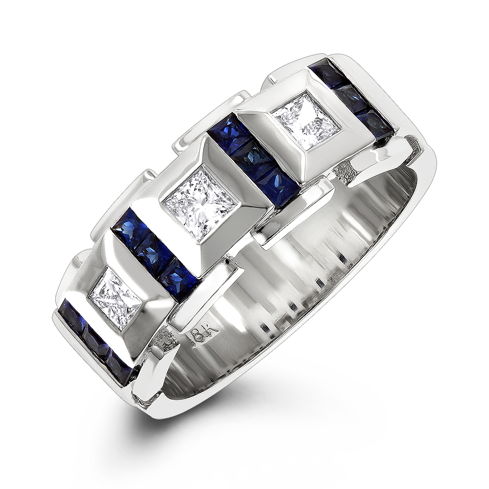 Luxurman Wedding Rings: 18k Gold Unique Diamond And Sapphires Band For Men White Image