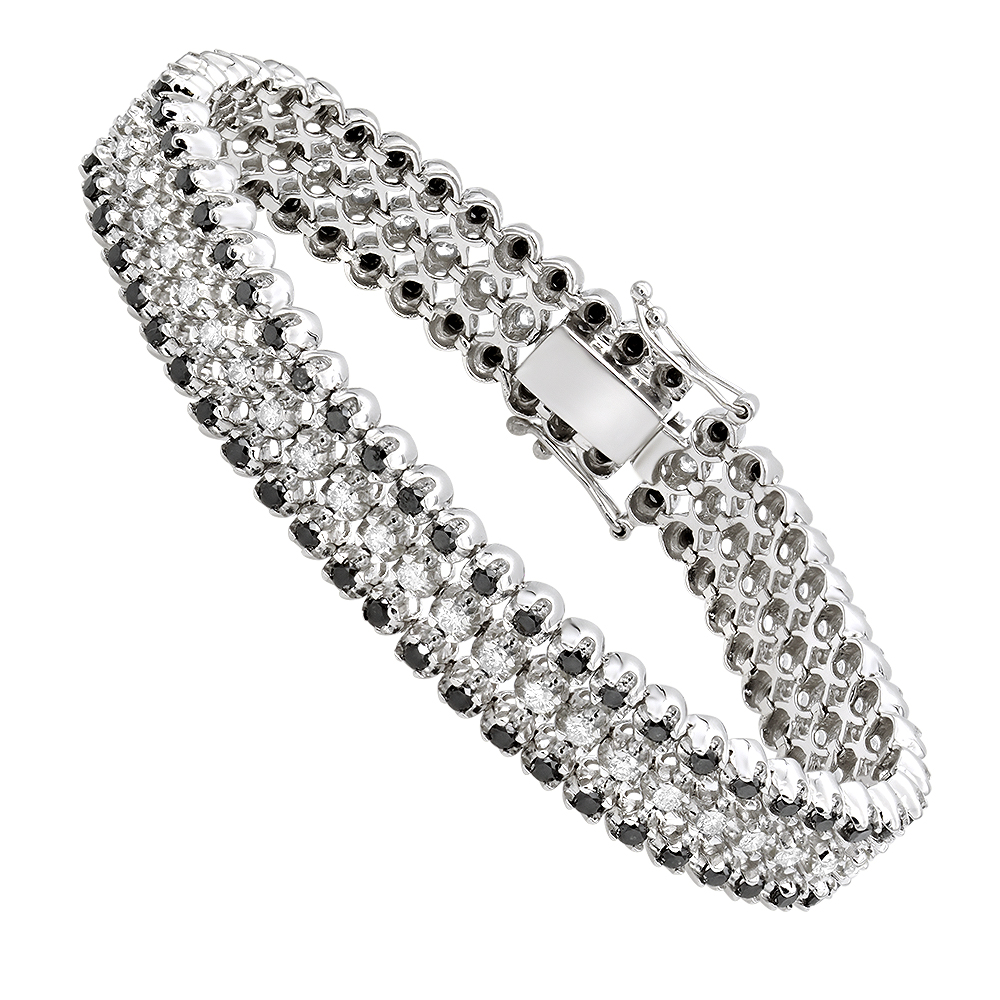 Luxurman White And Black Diamond Tennis Bracelet For Men