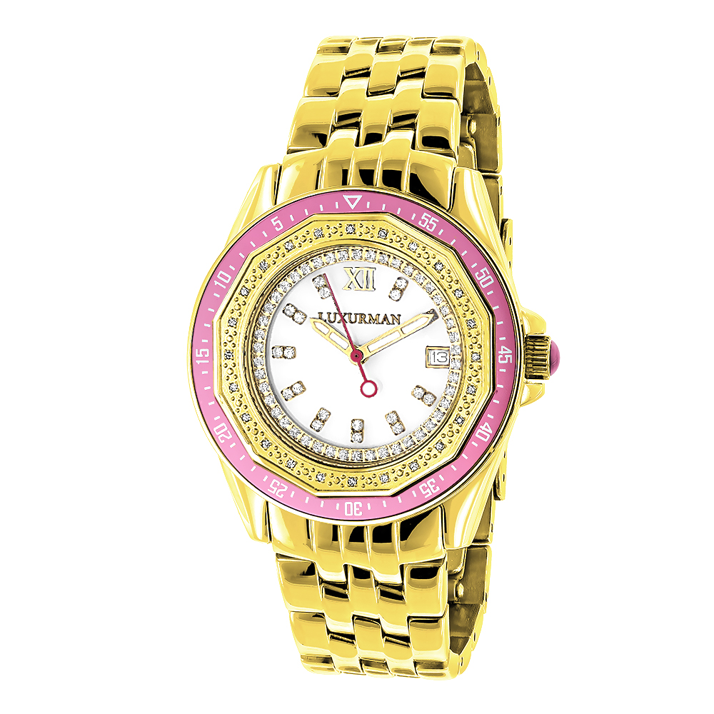 Luxurman Womens Diamond Watch 0.25ct Yellow Gold Pltd Main Image