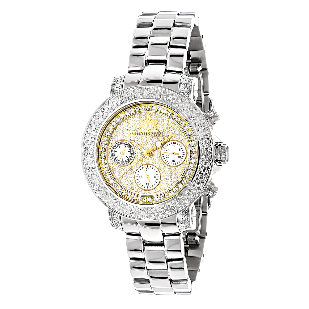 Luxurman Womens Diamond Watch 0.3ct Two Tone Gold Plated Main Image