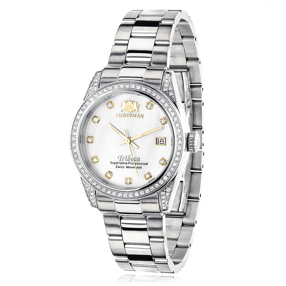 Luxurman Women's Diamond Watch Stainless Steel Tribeca 1.5ct Main Image