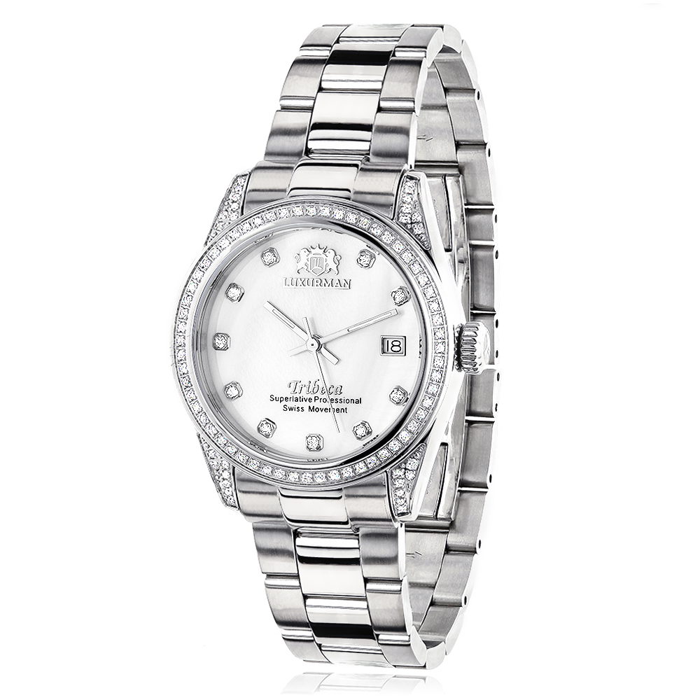 Swiss Quartz Watches Luxurman Womens Diamond Watch Stainless Steel Tribeca Main Image