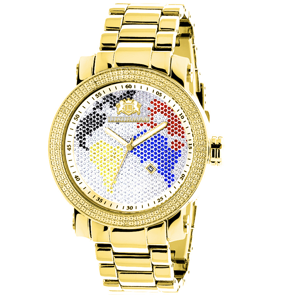 Luxurman World Map Mens Diamond Watch 0.12ct Yellow Gold Plated Main Image