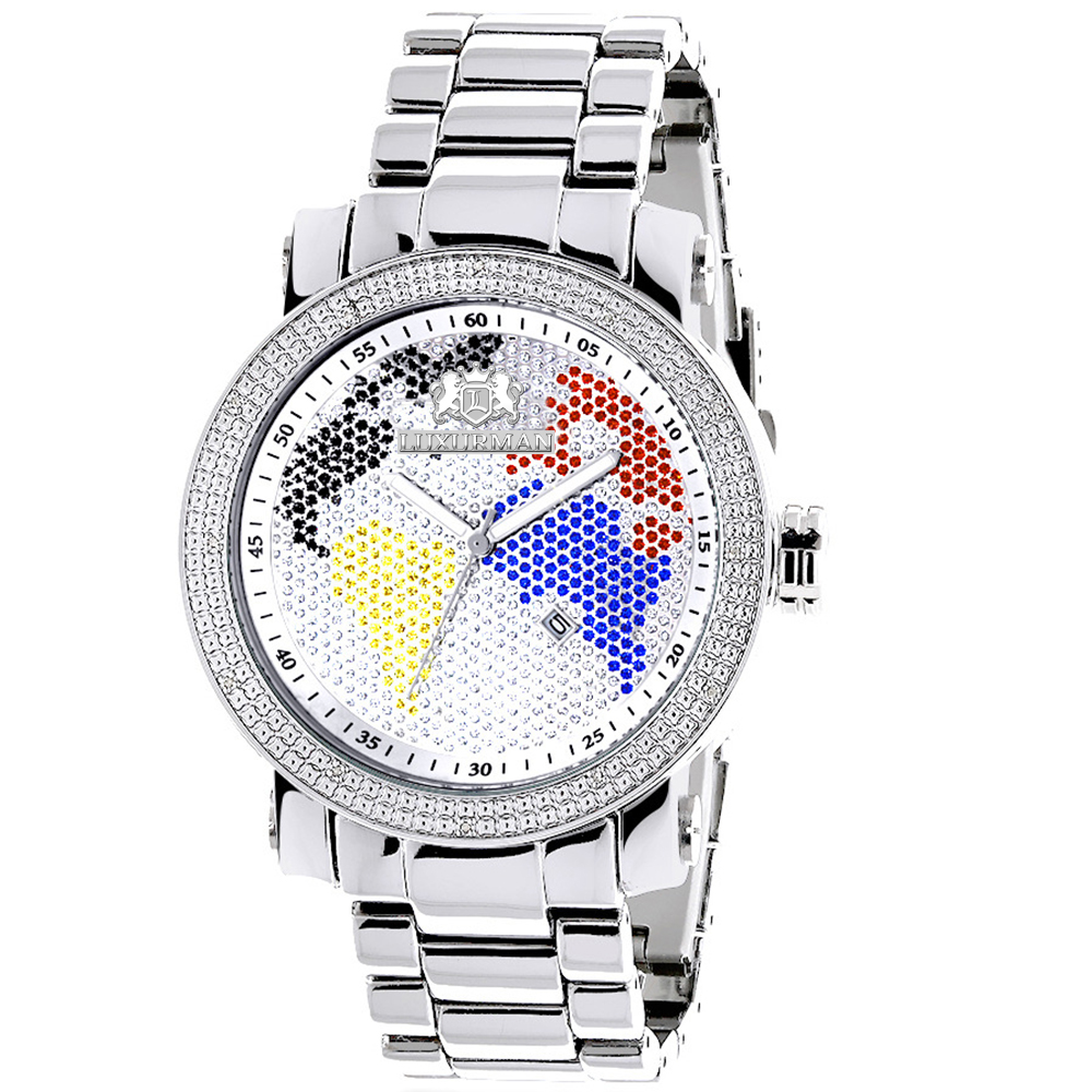 Luxurman World Map Mens Diamond Watch 0.12ct Main Image