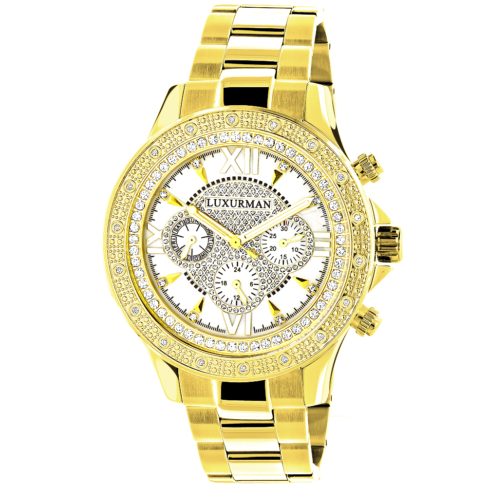 Luxurman Yellow Gold Tone Mens Diamond Watch 0.2ct Swiss Quartz Metal Band Main Image