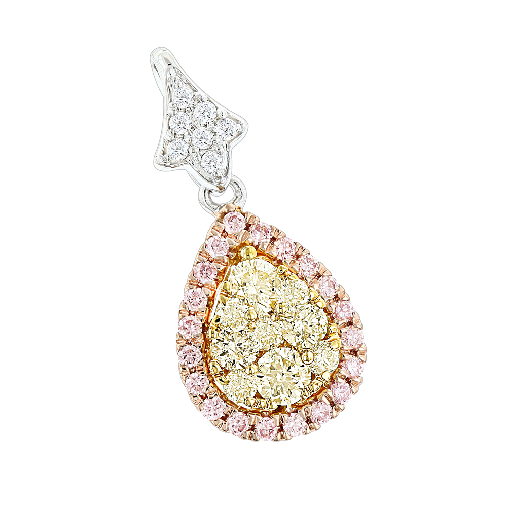 Luxurman Yellow White Pink Diamond Drop Pendant for Women 0.86ct 14K Gold White Image