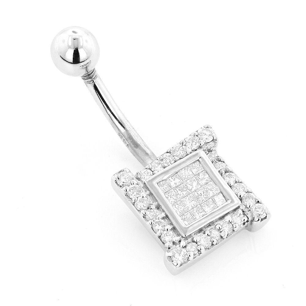 Luxury Body Jewelry: Gold Diamond Belly Button Ring 0.53ct 14K White Image