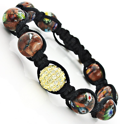 Marble Bead Unique Disco Ball Bracelet with Yellow Crystals Main Image