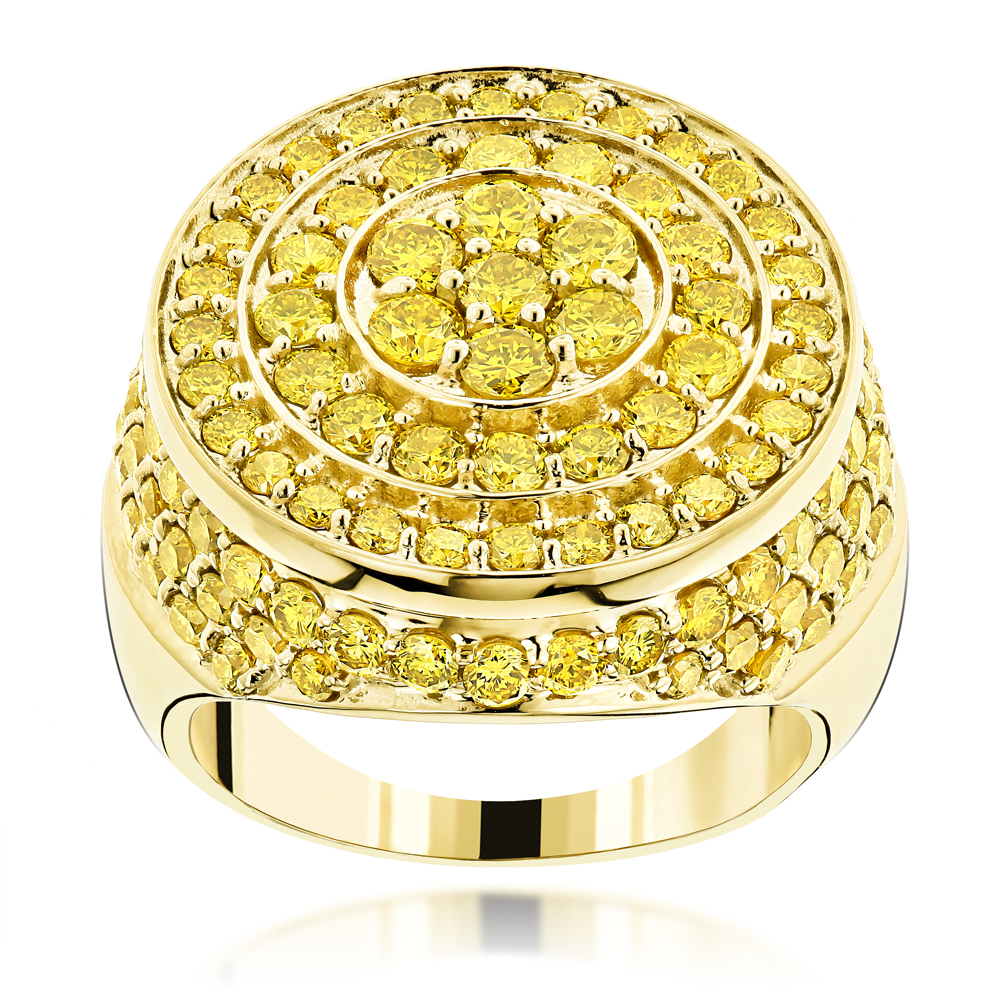 Massive 14K Gold Round Yellow Diamond Circle Ring for Men 4.45ct Yellow Image