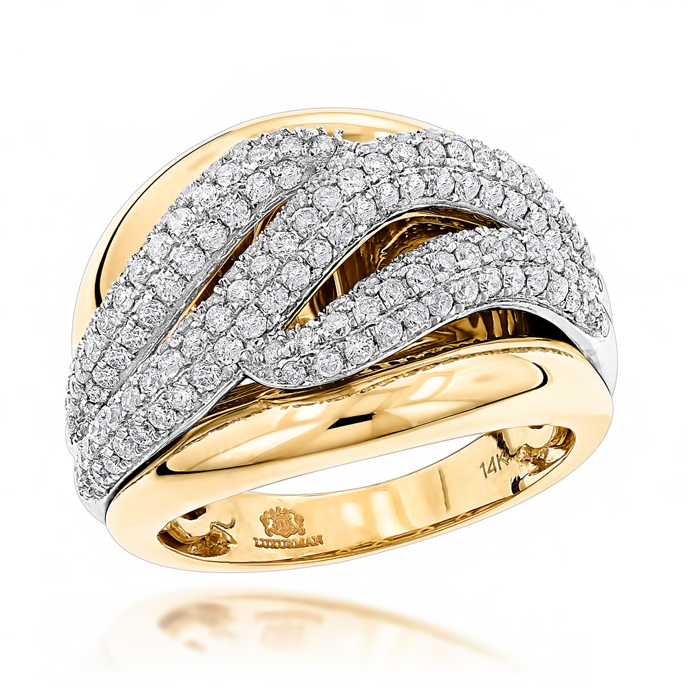 Massive Womens Diamond Wave Cocktail Ring 14K Gold 1.25ct