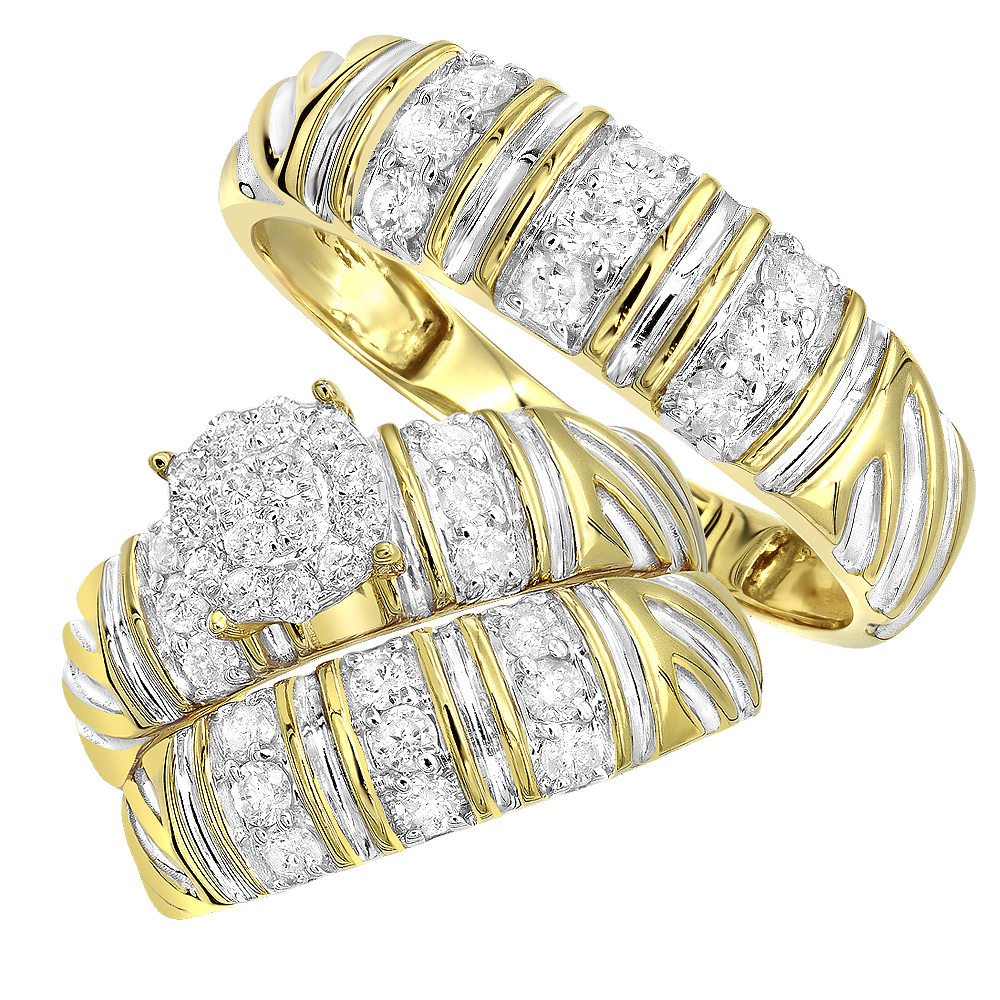 Matching Bridal Sets Diamond Engagement Ring and Wedding Bands Set 10k Gold Yellow Image