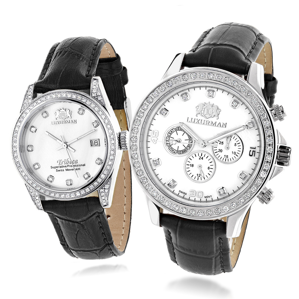 Matching His and Hers Luxurman Real Diamond Watches Leather Band White MOP