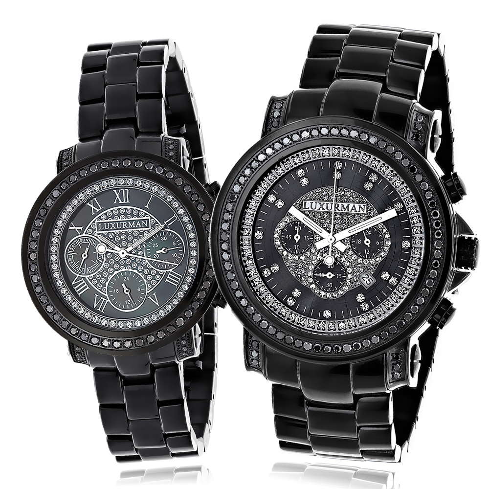 Matching His and Hers Watches: Black Diamond Watch Set by Luxurman 5.15ct Main Image