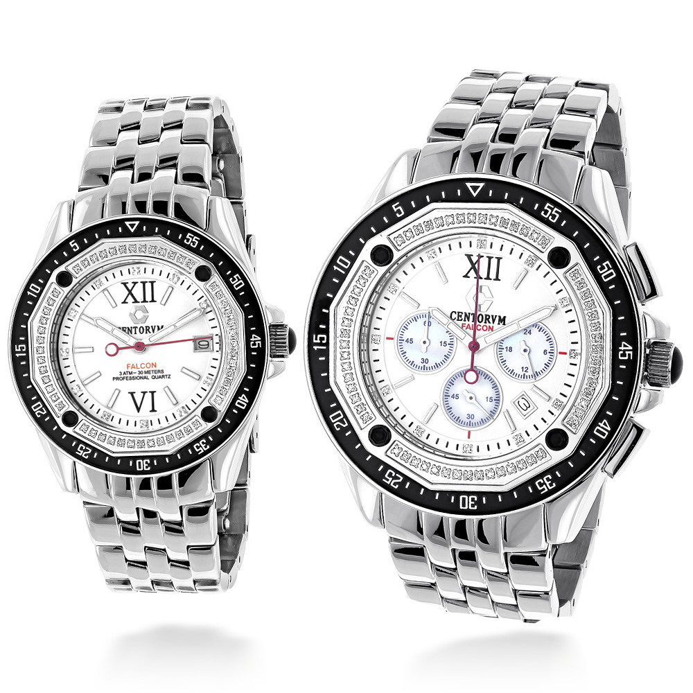 Matching His and Hers Watches: Centorum Diamond Watch Set 1ct Chronograph Main Image