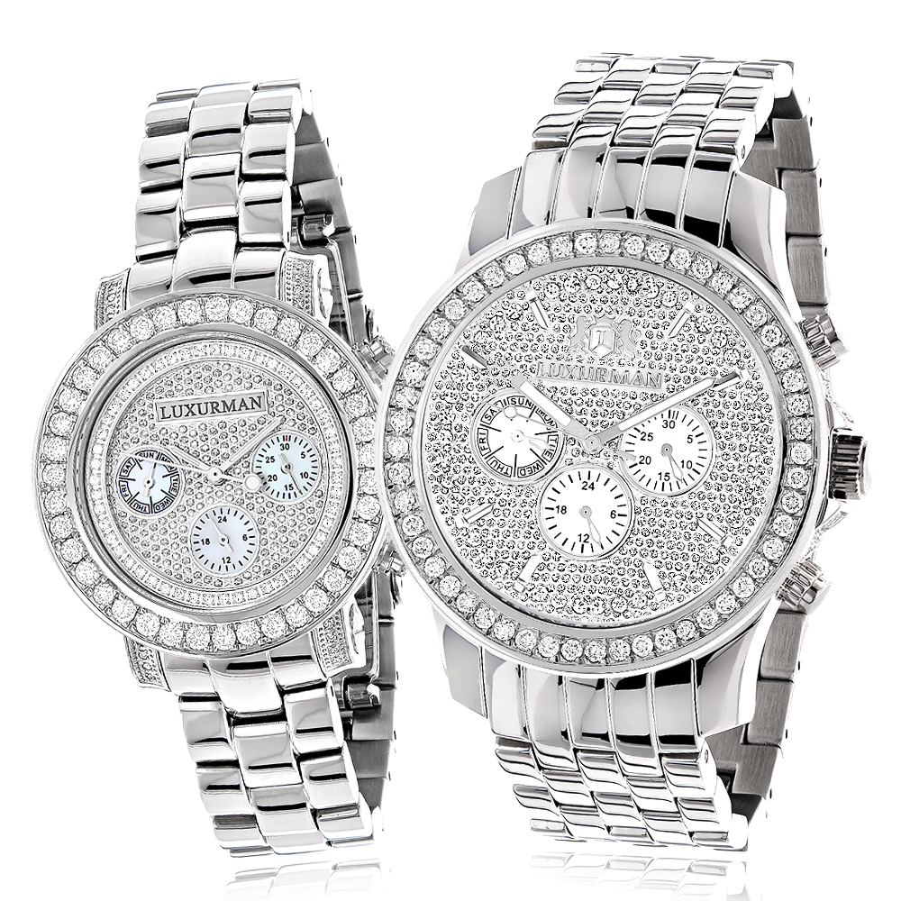 Matching His and Hers Watches: Luxurman Diamond Bezel Watch Set 6ct Main Image