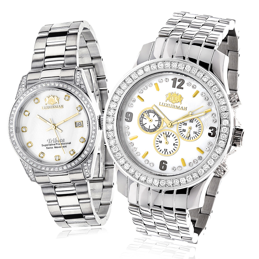 Matching His and Hers Watches: Luxurman Diamond Watch Set Gold Plated 4ct Main Image
