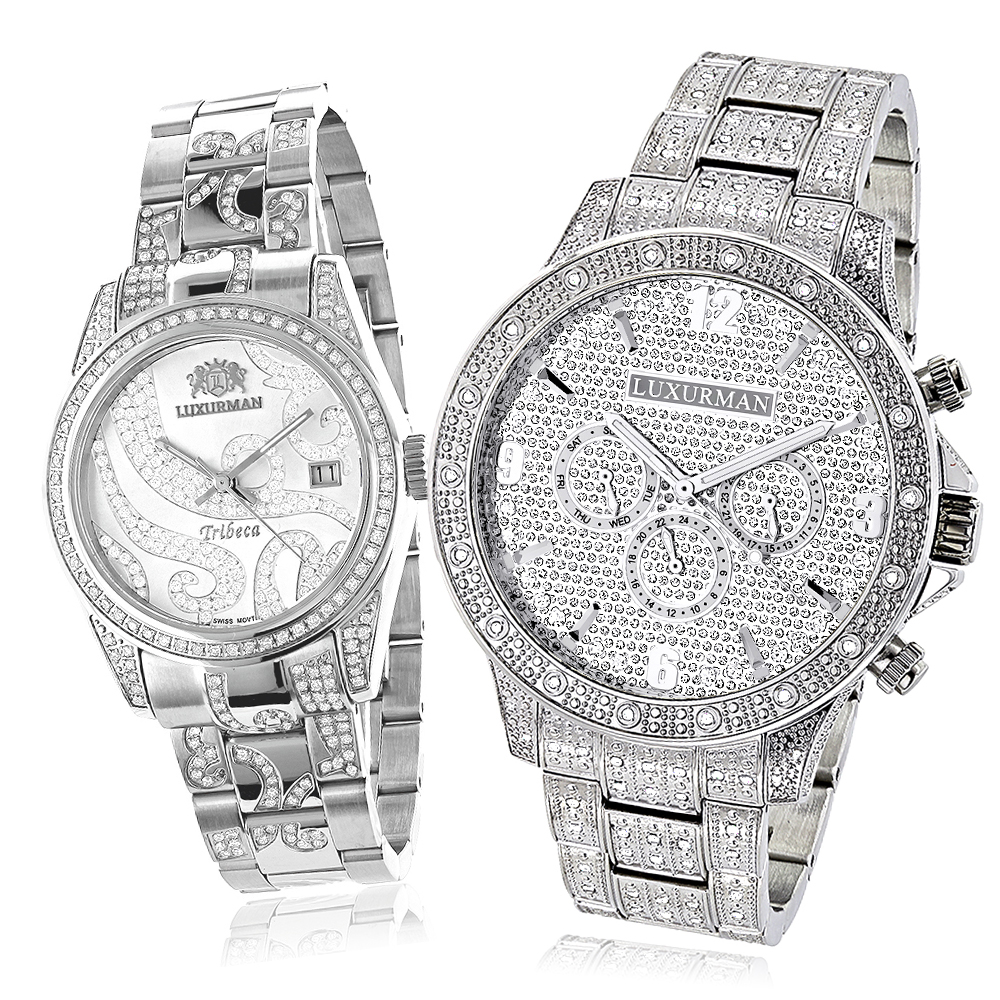 Matching His and Hers Watches: Luxurman Iced Out Diamond Watch Set 4.25ct Main Image