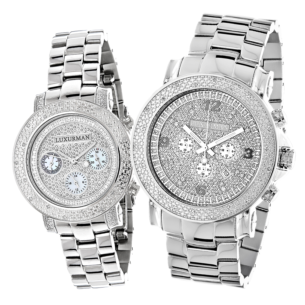 Matching His and Hers Watches: Luxurman Oversized Diamond Watch Set 0.55ct