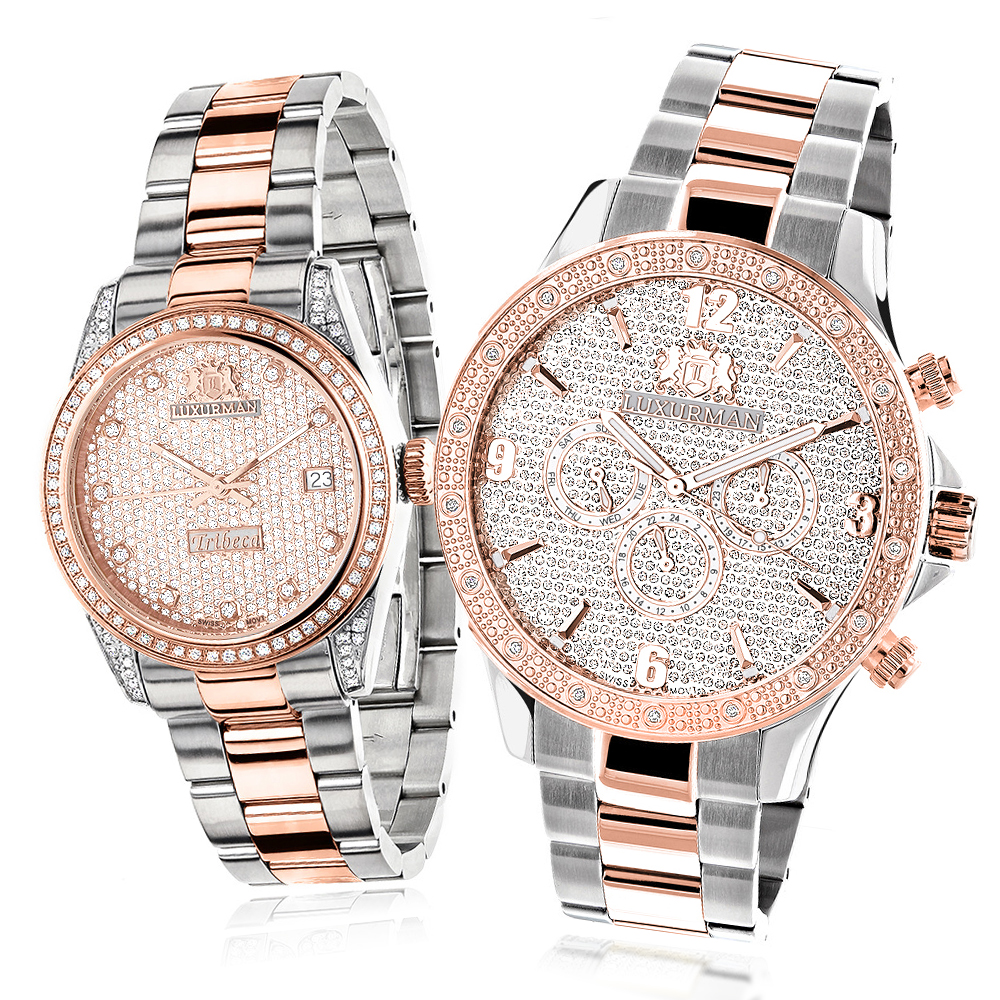 Matching his and hers watches luxurman rose gold diamond watch set for Gold timepieces watch