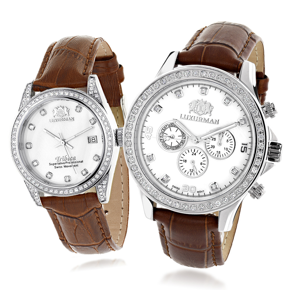 Matching His and Hers Watches Luxurman White Gold Plated Diamond Watches Main Image