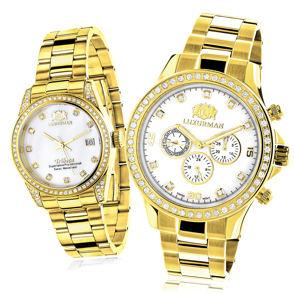 Matching His and Hers Watches Luxurman Yellow Gold Plated Diamond Watches  Main Image