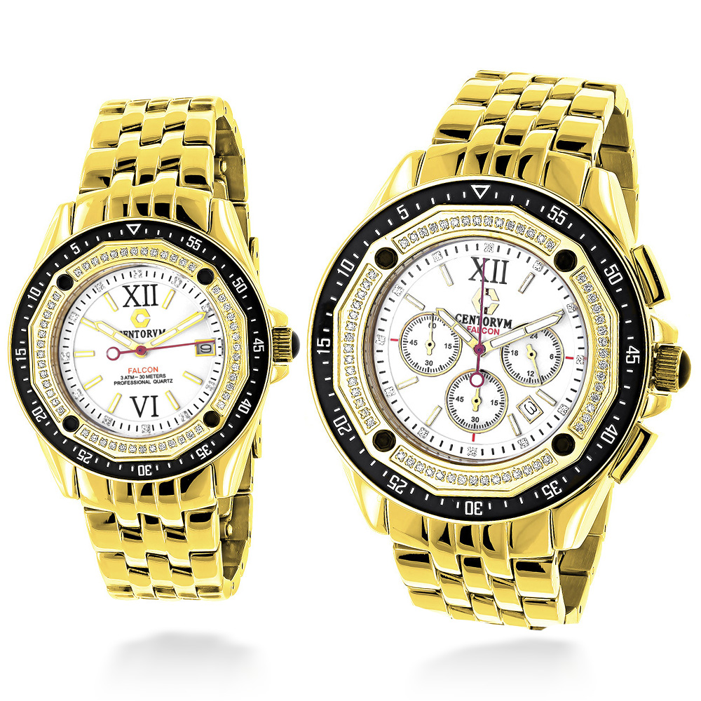 Matching His and Hers Watches: Yellow Gold Plated Diamond Watch Set 1.05ct Main Image