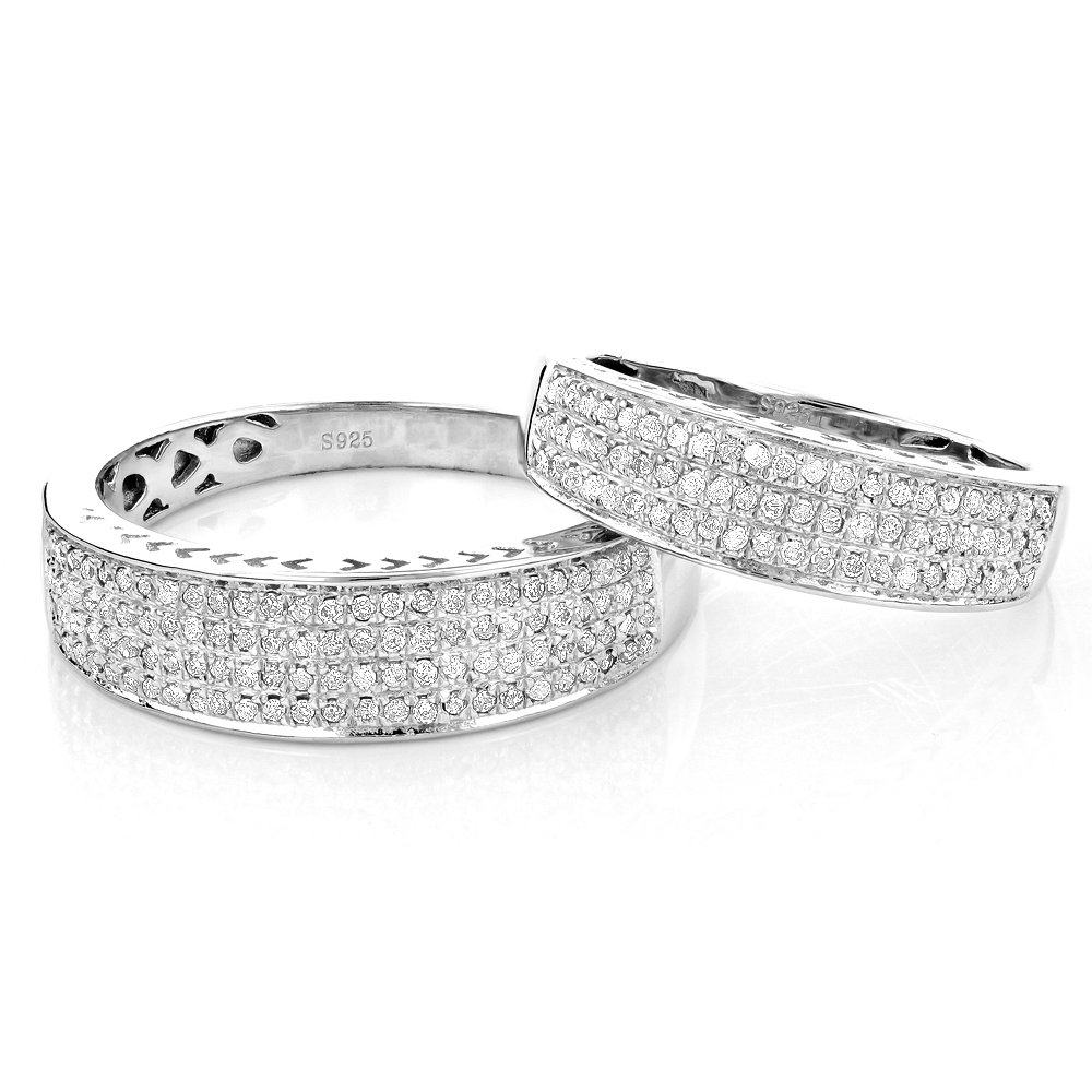 Matching His and Hers Wedding Band Set in Sterling Silver Main Image