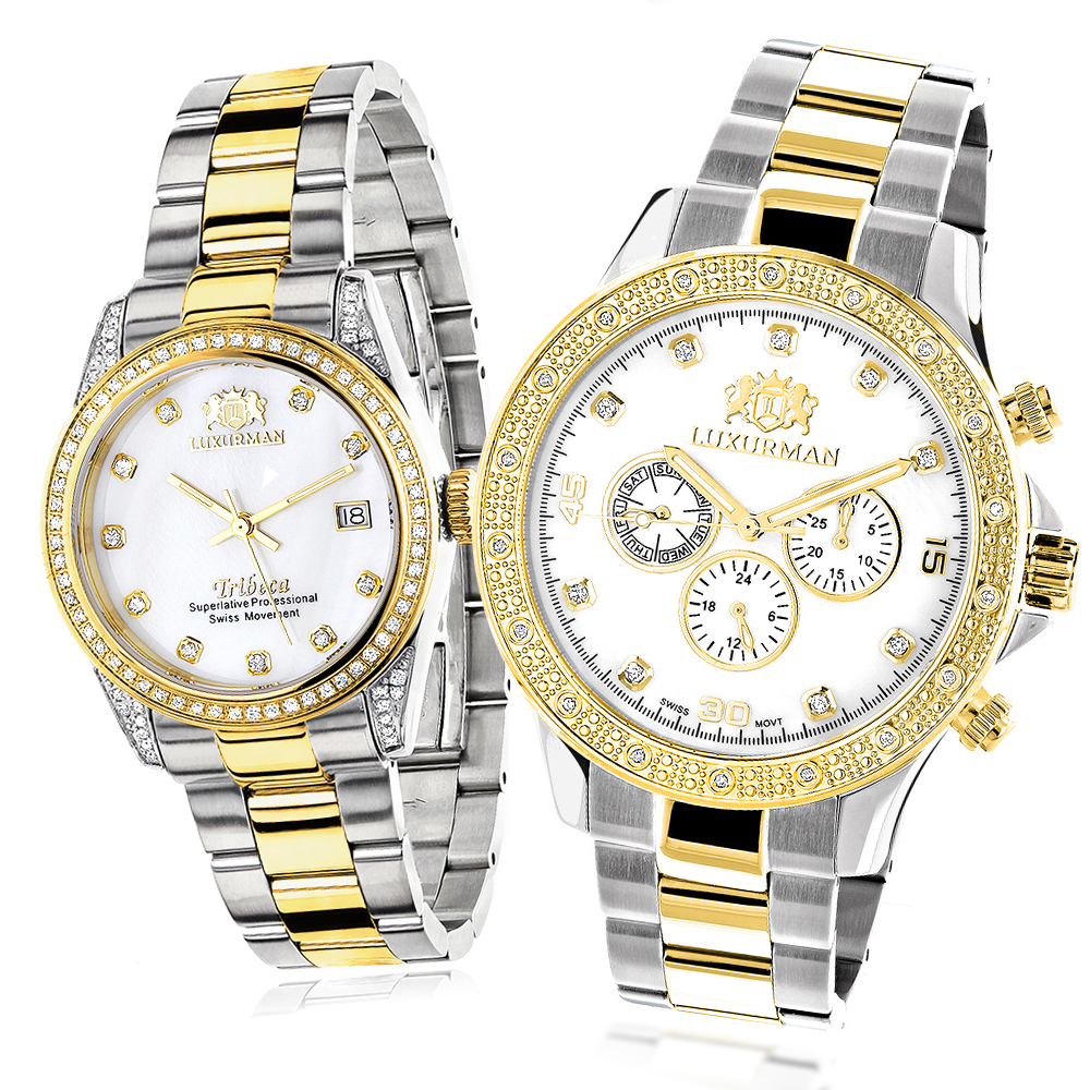 Matching Watches for Couples Luxurman Yellow Gold Plated Diamond Watch Set Main Image